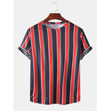Mens Activewear Stripe Letter Print Short Sleeve Sport T-Shirts