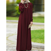 Women Vintage O-neck Button Long Puff Sleeve Kaftan Solid Color Maxi Dress
