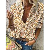 Женщины Дизайн Этническая блузка с длинным рукавом и воротником с лацканами и принтом