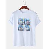 Erkek Komik Yağ Baskı Van Gogh Yıldız Tasarımcı Kısa Kollu T-Shirt