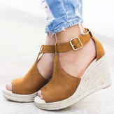 Women Espadrilles Peep Toe Buckle Comfy Casual Wedges Sandals