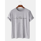 Mens 100% Cotton Letter Print Crew Neck Short Sleeve Casual T-Shirts