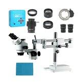 3.5X 7X 45X 90X Soporte de doble brazo Zoom Simul Focal Trinocular estéreo microscopio + 21MP Cámara Microscopio para reparación de PCB industrial