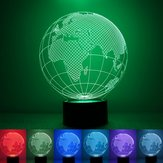 3D Earth Globe Night Light 7 Zmiana koloru USB Lampa stołowa LED Home Decor