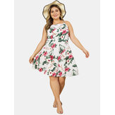 Plus Size Summer Holiday Flower Print Sleeveless Sling Dress