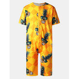 Mens Funny Pineapple &Geometric Print Round Neck Short Sleeve Casual Rompers Jumpsuits