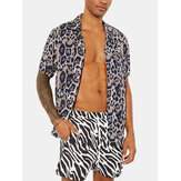 Mens Leopard Printed Hawaii Shirts Casual Short Sleeve Button Down Party Top Tee