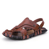 Men Microfiber Stiching Casual Beach Leather Sandals