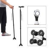 2-in-1 Adjustable Walking Stick Climbing Trekking Pole 27.9-37.4inch 4 Head Pivoting Trusty Base with LED Light