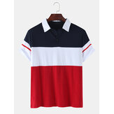 Mens Color Block Patchwork Casual Short Sleeve Golf Shirt