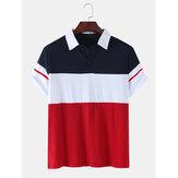 Heren kleurblok patchwork casual golfshirt met korte mouwen