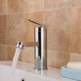 Mitigeur d'évier à poignée unique pour lavabo en chrome brossé