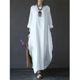 Женщины 100% хлопок Твердые мешковатые карманы Summer Maxi Платье