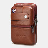 Men Genuine Leather Retro Business Double Layers 6.5 Inch Phone Bag Waist Bag With Belt Loop