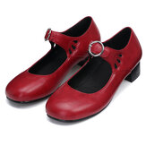 Women Leather Sandals Mid Heel Square Toe Comfort Anti-slip Casual Loafters Hiking Camping Travel Ballet Shoes
