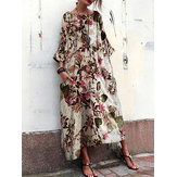 Women 3/4 Sleeve Crew Neck Floral Print Vintage Maxi Dress