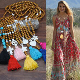 Bohemian Wooden Beads Tassel Necklace Geometric Heart Star Butterfly Turquoise Pendant Long Necklace