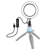 Puluz PU378 USB 6.2 بوصة 3 أوضاع 3200K-5500K عاكس LED فيديو Ring ضوء مع Cold Ballod Tripod Ball Head لـ Youtube Tiktok Live Streaming