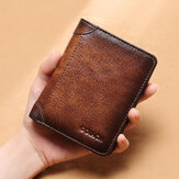 Men Genuine Leather RFID Anti-theft Multifunction Retro Large Capacity Foldable Card Holder Wallet