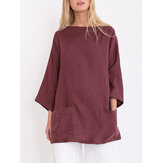 S-5XL Elegant 3/4 Sleeve Solid Color Blouse with Pockets