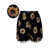 Mulheres elástico de cintura alta girassol calções impressos calções de praia casuais