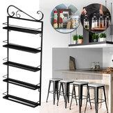 Rack de cozinha de armazenamento de ferro forjado de cinco camadas Banheiro Arranjo para sala de estar recebe