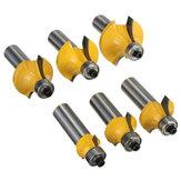 6pcs 1/2 Zoll Shank Roundover Router Bit Set Tungsten Holzbearbeitung Werkzeug