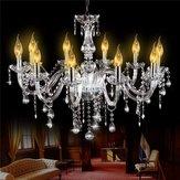 E12 Silver Glass 10 Heads Crystal Chandelier Modern Large Foyer Colgante Luz AC110-240V