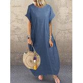 Women Casual Short Sleeve Cozy Loose Denim Maxi Dress