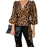 Leopard Print V-neck Long Sleeves Belt Casual Blouse