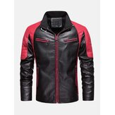 Mens Contrast Patchwork Washed Motorcycle PU Leather Jacket With Pocket