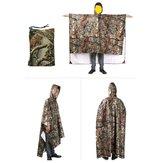 3in1MultifunktionsregenmantelPonchoRucksack Tarnung Regenschutz Markise Zelt Rainning Kleidung