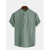 Mens Cotton Solid Color Chest Pocket Cotton Casual Henley Shirts