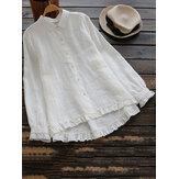 Plus tamanho elegante manga comprida babados blusa de algodão de bainha