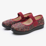 Women Old Peking Cloth Elastic Slip On Resistant Loafers