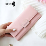 Women RFID Trifold Long Wallet Card Holder Phone Bag Purse