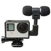Microphone externe avec kit de cadre standard adaptateur micro ajustement pour GoPro héros 4 3 Plus 3