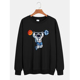 Cotton Mens Astronaut Print Drop Shoulder Pullover Long Sleeve Casual Sweatshirts