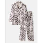 Seda de gelo masculina com impressão allover casual solta de manga comprida confortável em casa pijama com bolso