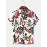 Men Gradient Leaf Print Short Sleeve Soft Casual Shirts