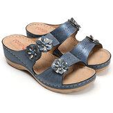 Frauen Sommer Loafer Dick Bottom Beach Sandalen Leder Anti-Rutsch-Casual Komfort Flop Walking Wandern Camping Hausschuhe