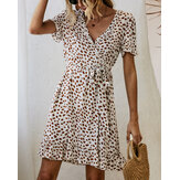 Bohemian Ruffle Wrap Animal Print Belted V-neck Short Sleeves Dress