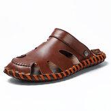 Men Genuine Leather Hand Stitching Slippers