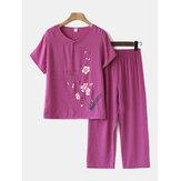 Kadınlar Plus Boyutu Çiçekler Baskı Loungewear Set Nefes Mandarin Düğme Gevşek Pijama