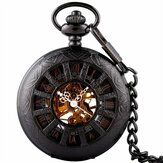 Antique Black Mechanical Skeleton Pocket Watch Wind Up Steampunk Pendant Chain