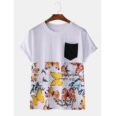 Homens Moda Casual Borboleta Imprimir Patchwork Pocket Crew Neck T-Shirts