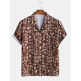 Heren etnische tribal totem bedrukte shirts met korte mouwen