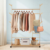 Movable Coat Rack Shoes Rack Wooden Clothing Hanging Rack Bamboo Garment Clothes Shelf Home Office Furniture
