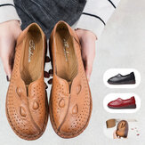 Women Casual Retro Comfy Wearable Soft Sole Slip On Leather Loafers