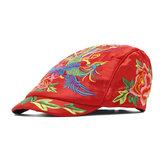 Boina de bordado floral étnico vendimia para mujer Sombrero